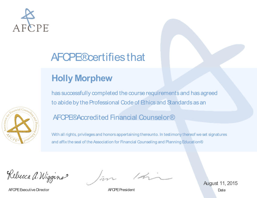 Holly Morphew Accredited Financial Counselor | Financial Impact